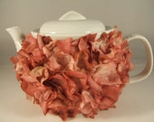 White Teapot with Faux Flower Petals in Shades of Rose and Pink