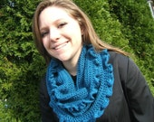 Neckwarmer Cowl Scarf Ocean Blue with Ruffled Edges Ready to Ship