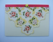 Blank Greeting Card Floral with Pink and Yellow Roses