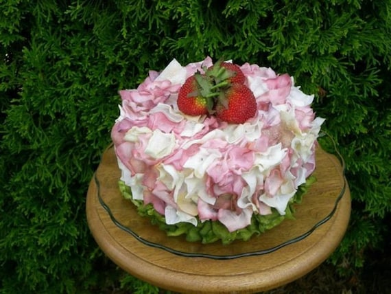 Reserved Listing For Jessica - Flower Petal Cake Pink Cream and Green with Strawberries