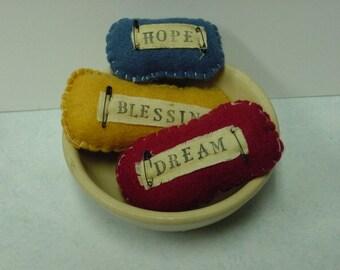 PRIMITIVE BOWL FILLERS / folk art pillows / primitive collection / prim bowl fillers / felt pillows / hand stitched felt / one of a kind