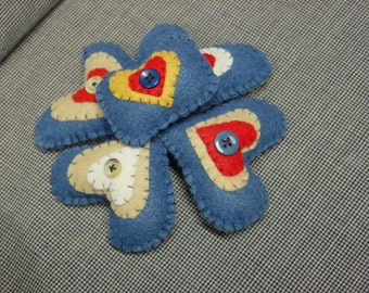 HEART BOWL FILLERS / hand stitched hearts / folk art felt hearts / stuffed felt hearts / stitched felt hearts / Valentine gift / Valentine