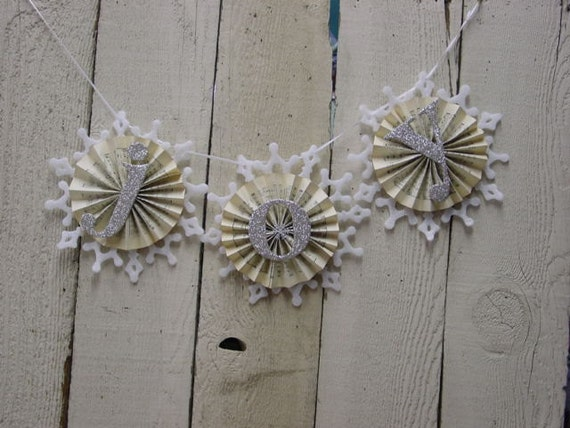 Handcrafted silver glitter JOY banner / Christmas banner / shabby chic / country cottage