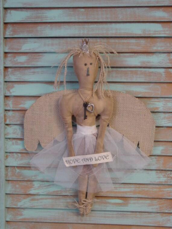 SHABBY CHIC ANGEL art doll / handcrafted tea stained muslin angel / guardian angel doll /folk art angel