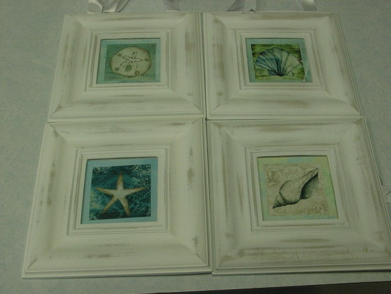 Set of 4 SHABBY BEACH COTTAGE distressed plaques / shabby chic / beach wedding /