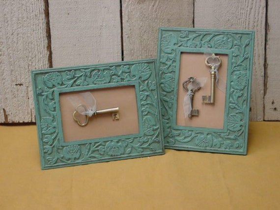 Pair no.2 / SHABBY PARIS CHIC framed skeleton keys / skeleton key assemblage