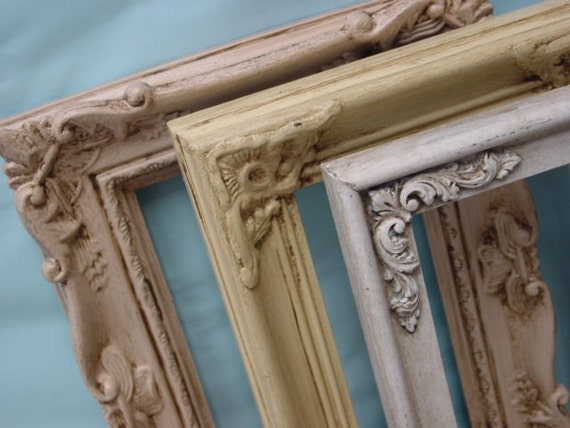 Set of three SHABBY CHIC FRAMES / shabby cottage chic wall decor / instant frame collection / group of shabby chic frames