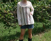 70s GAUZE BLOUSE with CROCHET from INDIA