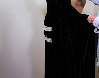 1940s XS Long Black Velvet Dress