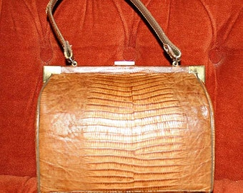 Vintage BROWN LIZARD Hand Bag, PURSE
