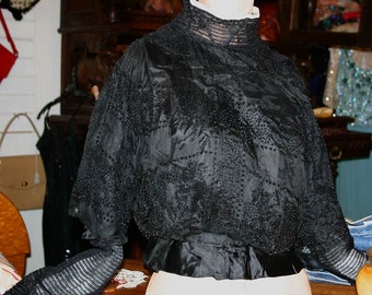GOTHIC Victorian Black BEADED BLOUSE