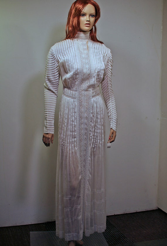 Incredible Edwardian Dress with Pintuck and Embroidery