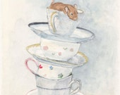 Mouse and Teacup Tower Original Watercolor Painting Kitchen Wall Art Home Decor Great Gift