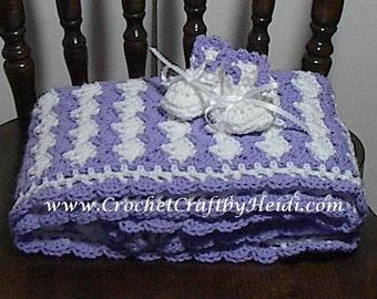 Baby Blanket Hand Crochet Afghan Lavender/White&Booties