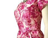 RESERVED for elmstreetmarket - Vintage 60's Bold Pink Flower Print Cocktail Dress - Bow and Faux Sarong Skirt M / L