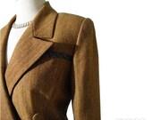 Vintage GALANOS Suit M/L - Cashmere Blend Golden Caramel Herringbone Designer Skirt Suit