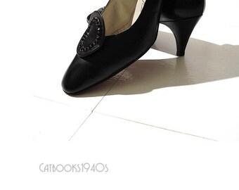Vintage 1960s Black Rhinestone Heels - Noir Couture Pumps Size 9B