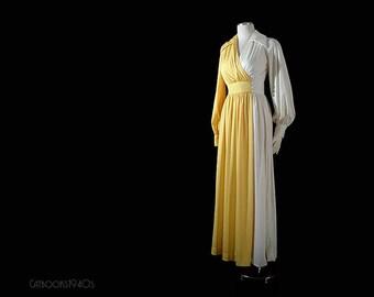 Vintage 1970s ESTEVEZ Dress Evening Gown - Yellow White Colorblock Size S