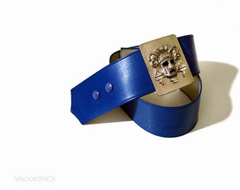 Vintage Cobalt Blue Wide Belt // 80s AZTEC Novelty Buckle