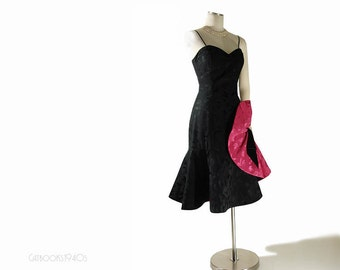 Vintage Black Cocktail Party Dress XS S - Circle Skirt Mermaid Dress
