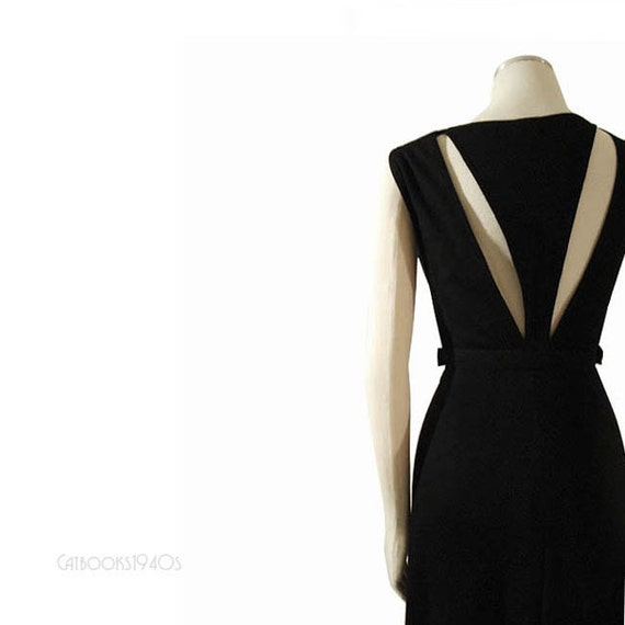 Vintage 70s Geoffrey Beene Cocktail Dress XS - Wool Jersey Couture Spectacular Cutout Back