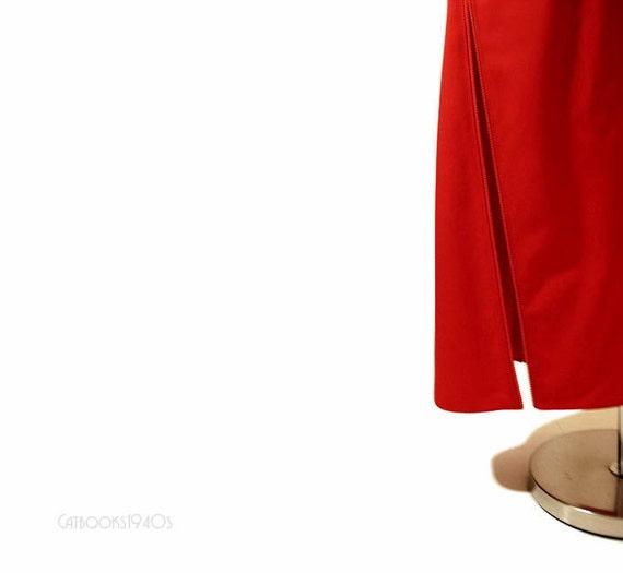 Vintage Geoffrey Beene Midi Skirt L - Fire Red Avant Garde Asymmetric Skirt