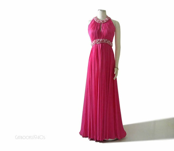 Vintage 60s Mad Men Hot Pink Evening Gown XS S - Beaded Draped Goddess Dress