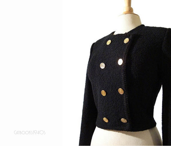 RESERVED for Lisa - Vintage ADOLFO Military Crop Jacket - Black Wool Boucle Knit S