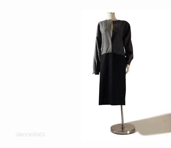 Vintage 80s Gucci Dress L - Drop Waist Avant Garde Gray Wool Colorblock