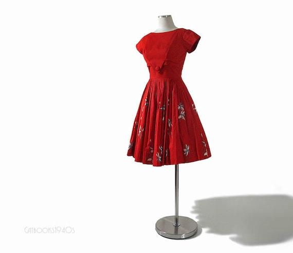 Vintage Red 60s Dress - 1960s Full Skirt Mad Men Dress - Hand Screened Print  S