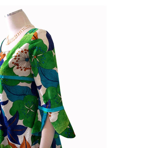 Vintage 60s Hawaiian Dress - Mod Empire Waist Maxi Dress S