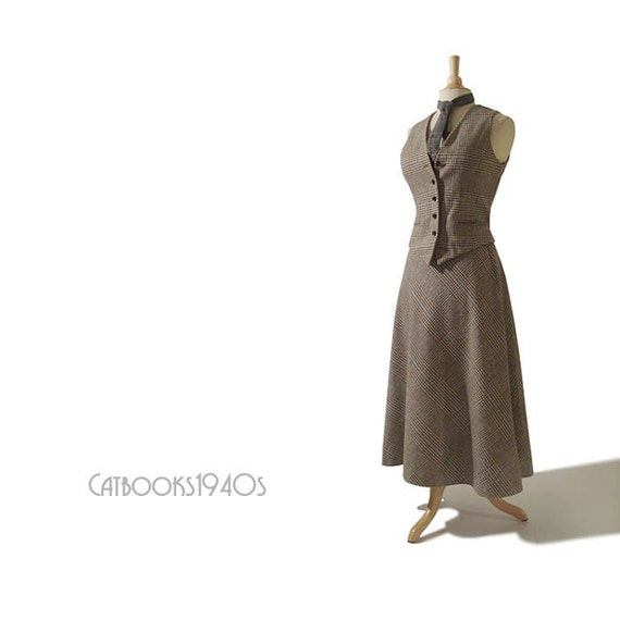Vintage 1970's ANNE KLEIN Plaid ANNIE HALL Vest and MIDI Skirt Set M