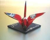 Washi Paper Origami Crane - Owls