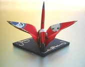 Origami Crane - red velvety Washi paper with lucky Owls