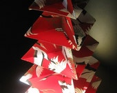 Origami Christmas Tree  -  Cranes On Red