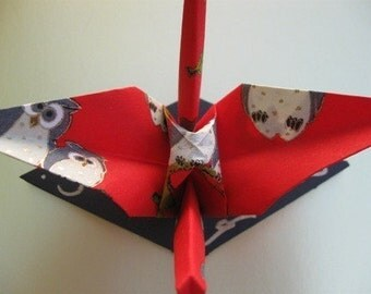 Two Origami Cranes - red velvety Washi paper with lucky Owls