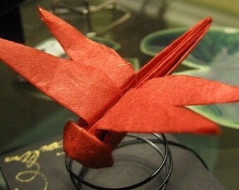 Origami Red Dragonfly , with decorative fine paper / on a spiral wire