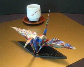 Extra Large Origami Crane - Japanese Blue/Gold Washi Paper