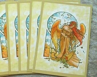 Set or Single Postcards - Fantasy Art Nouveau Angel of Autumn