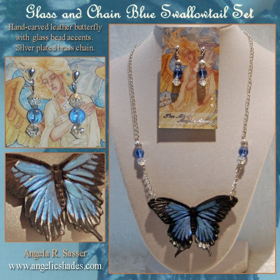 Blue Swallowtail Butterfly Necklace and Earrings Set with Glass Beads