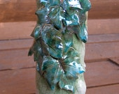 Teal Green Grape Leaves Magically Form a Unique Raku Vase To Hold and Compliment Your Precious Flowers