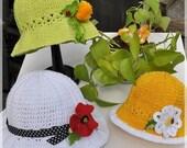 CROCHET PATTERN Garden Party. Hat & Poppy, Dandelion and Daisy Pins/Headbands Crochet Pattern/eBook