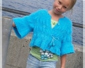 PATTERN Turquoise Sweater Knit Pattern with Crochet Details for Sizes 2-12 in PDF Instant Download