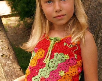 CROCHET PATTERN Floral Fiesta Tank Top Crochet Pattern for Sizes 2-12 Years in PDF eBook