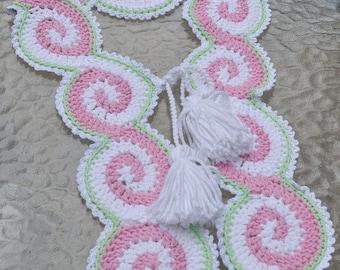 CROCHET PATTERN Celtic Pink Scarf with tassels Crochet Pattern in PDF Instant Download
