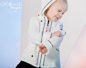 PATTERN Hand Knitted Polar Bear Baby Coat Knit Pattern with Crochet Details for  Sizes 12M-6T in PDF Instant Download