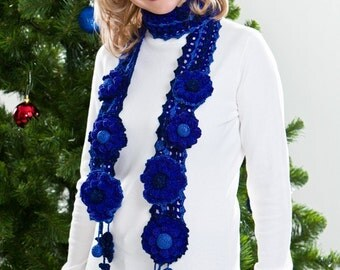 CROCHET PATTERN Holidays Royal Blue. Genia Crocheted Scarf & Flower Pins Gift Pattern in PDF eBook Instant Download