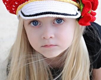 CROCHET PATTERN Polka Dots Reversible Cap & Poppy Pin Set Crochet Pattern for Sizes Baby to Adult in PDF
