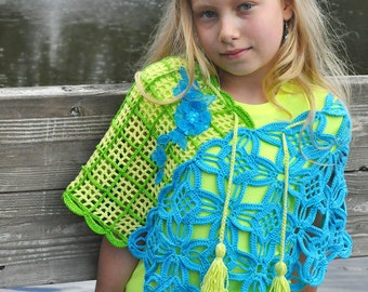 CROCHET PATTERN Jardin Hip Shawl Sizes Kids to Adult Crochet Pattern in PDF Instant Download