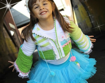 CROCHET PATTERNS Holidays Elf Princess Crocheted  Jacket Easter Sizes Kids 2-12 years PDF eBook Instant Download